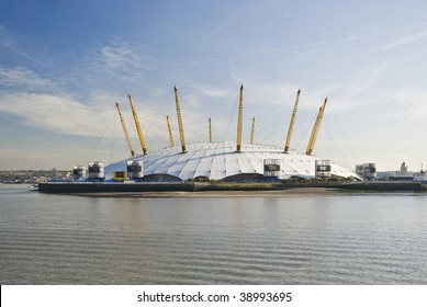 view from river thames over millennium dome in london