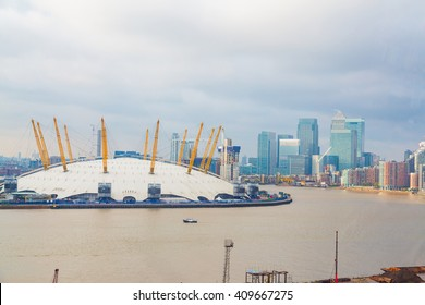 View from river thames over millennium dome in London and river Thames.