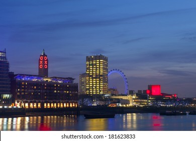 View of the River Thames with the Oxo Tower, London Eye and the Royal Festival Hall.