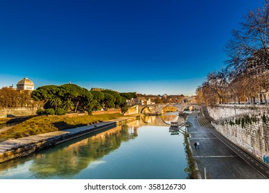 view of the river Tiber, trees, ancient palaces, monuments of ancient Rome