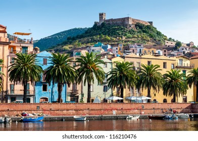 View of the river, the town of Bosa and the old fort on the island of Sardinia in Italy