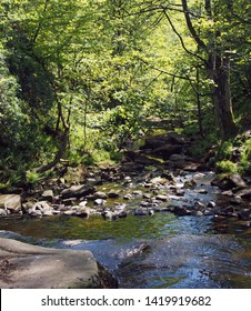 a view of the river and valley at lumb hole falls in woodland at crimsworth dean near pecket well in calderdale west yorkshire
