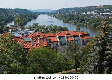 View of river Vltava in Prague from Vysehrad