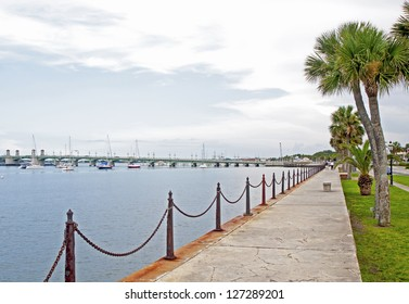 View of the river from a walk way in Saint Augustine, overcast day.