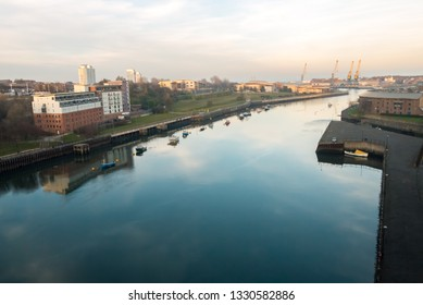 The View of the River Wear at Sunderland from Wearmouth Bridge looking Eastwards