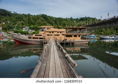 View of rivers and ships from under the bridge of Siti Nurbaya Padang, West Sumatra, Indonesia