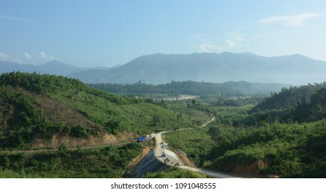 View of the road against the background of the mountain