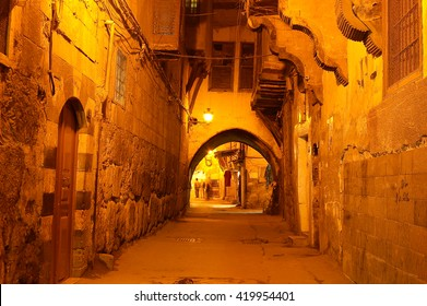 view of a road of Aleppo Citadel at night