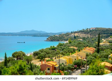 View from the road to the Barbati beach. Greece. Corfu.