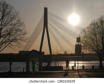 View of the road cable-stayed bridge over the Daugava in Riga, Latvia.