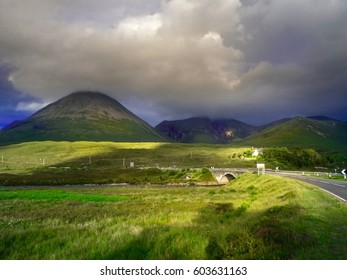 View from  the Road : Looking at  Sligachan Old Bridge , Isle of Skyr ,Scotland ,UK