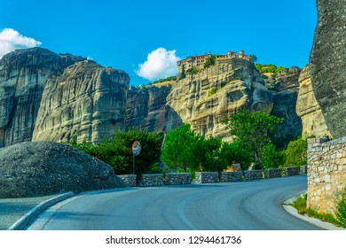 View from a road at Monastery of Varlaam at Meteora, Greece