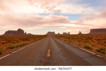 View from a road in Monument Valley