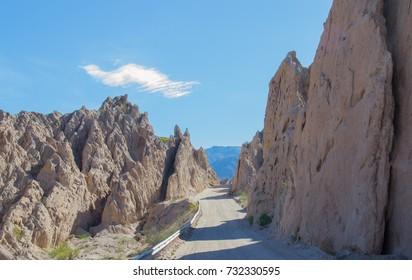 View of the road at Quebrada de las Flechas, Salta and Jujuy region, North of Argentina
