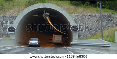 View the road tunnel . June 22. 2018. Ostfold Region, Norway