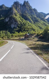 View of the road in the valley between the mountains. Montenegro.