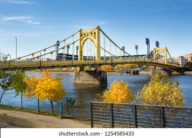 View of the Roberto Clemente Bridge over the Allegheny River in Pittsburgh, Pennsylvania, in autumn.