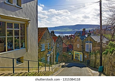 View of Robin Hood Bay's Old Town, in Robin Hood's Bay, Scarborough, North Yorkshire, England, on 16th February, 2019.