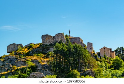 View to the Roc Castel, which overlooks the village of Caylar in France