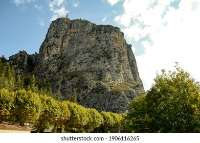 View of the Roc geological wonder in the Verdon Valley standing over the village of Castellane in France