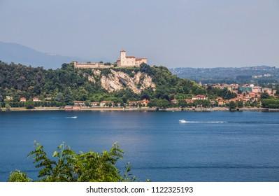 View of Rocca Borromea in Angera town, Angera, Maggiore Lake, Varese, Lombardy, Italy.