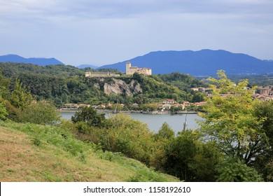 View at Rocca di Angera, Borromeo Castle, Lake Maggiore, Lago Maggiore, Italy