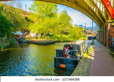 View of the Rochdale canal in Manchester, England