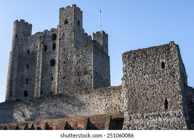 View of Rochester Castle in Kent, showing one of the best preserved Norman tower or keep in England. The castle was founded in 1127 and is visited by thousands of  tourists each year.