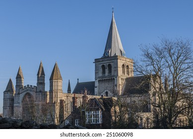 View of Rochester Cathedral in Kent which is the second oldest cathedral in England, founded 604 AD. The cathedral attracts thousands of visitors and pilgrims each year.