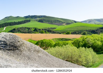 View from Rock bluff known as Frog Rock across farmland of Waipara Valley, Canterbury New Zealand