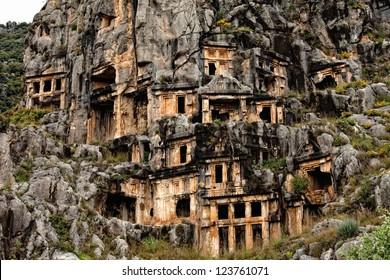 View of rock cut tombs of Myra