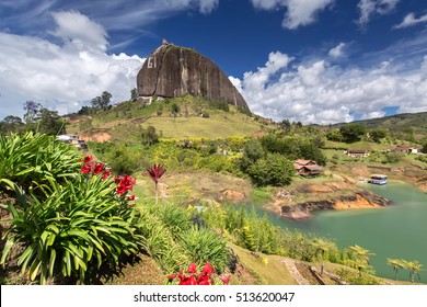 View of The Rock El Penol near the town of Guatape, Antioquia in Colombia
