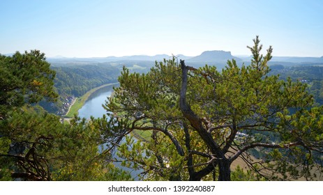 View from the rock formation Bastei in the Elbe Sandstone Mountains to the valley of the Elbe