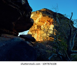 View of rock formation at beautiful sunset in Australian Kakadu park.