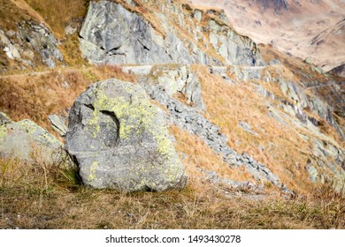 view at rock formation on Gotthard pass in Switzerland, small deep of field DOF