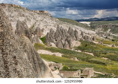 View of rock formations near the Selime Monastery in the Ihlara Valley, Cappadocia, Turkey