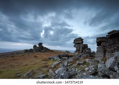 View of rock formations on Great Staple Tor,Dartmoor National Park, Devon, UK