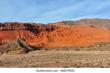 View of rock formations in the Quebrada de las Conchas near Cafayate, Salta Province, Argentina