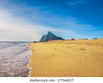 View to the rock of Gibraltar from the beach of La Linea