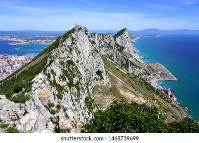 View of the Rock of Gibraltar, a British Overseas Territory on the South coast of Spain where the Mediterranean Sea meets the Atlantic Ocean