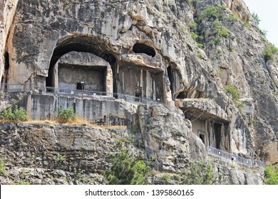 View of the rock tombs of the kings of Pontos in Amasya in Turkey