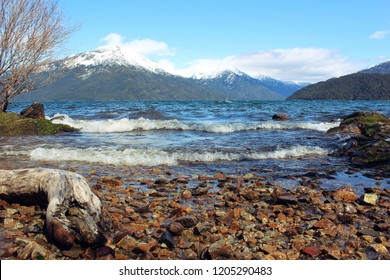 View of rocks beach of Puelo Lake