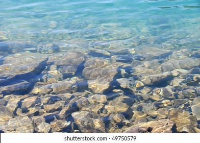 View of rocks on bottom of a lake