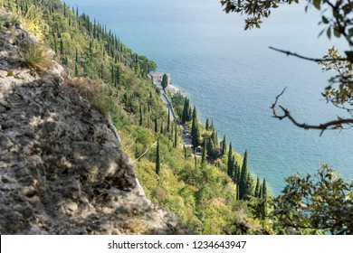 View from the rocks on the shore road on Lake Garda in Italy