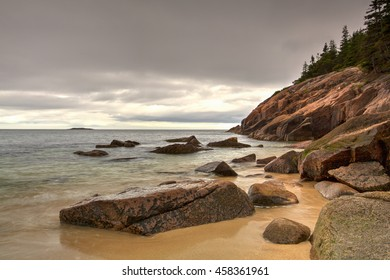 View of the rocky cliff shore line at Acadia National Park. Maine, New England, USA - HDR Image