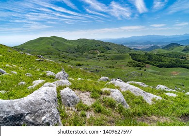 View of rocky hill and sky in Fukuoka prefecture, JAPAN. It is Hiraodai of karst plateau.