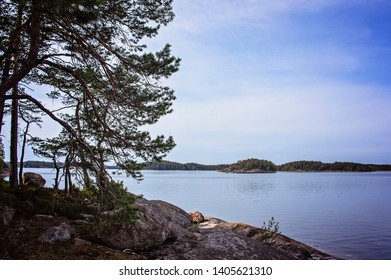 View of rocky islands in the Finnish Archipelago