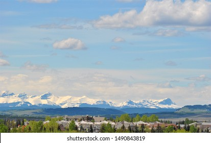 View of the Rocky Mountains from the Cochrane Town