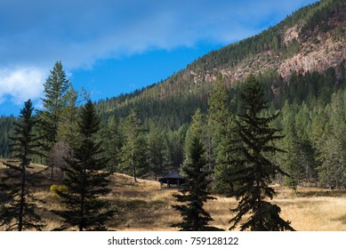 View of the Rocky Mountains from Kootenay National Park in the village of Radium in British Columbia, Canada