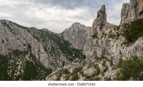 The view of rocky mountains in natural national park Velika Paklenica. Croatia, Europe.